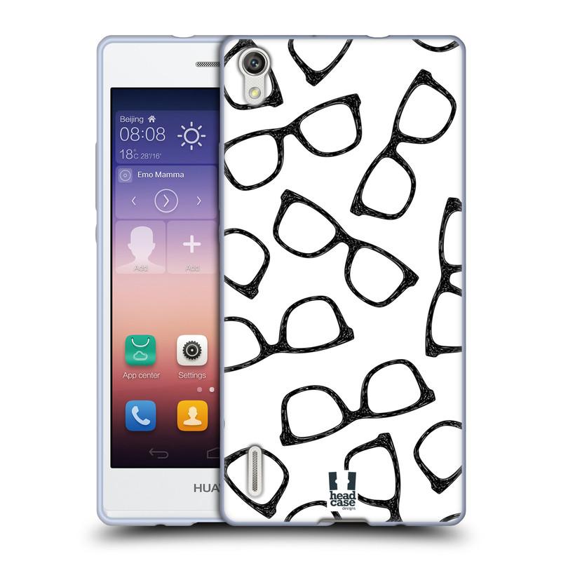 Silikonové pouzdro na mobil Huawei P7 HEAD CASE HIPSTER BRÝLE (Silikonový kryt či obal na mobilní telefon Huawei Ascend P7)