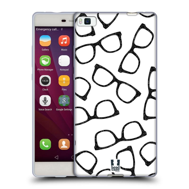 Silikonové pouzdro na mobil Huawei P8 HEAD CASE HIPSTER BRÝLE (Silikonový kryt či obal na mobilní telefon Huawei Ascend P8)