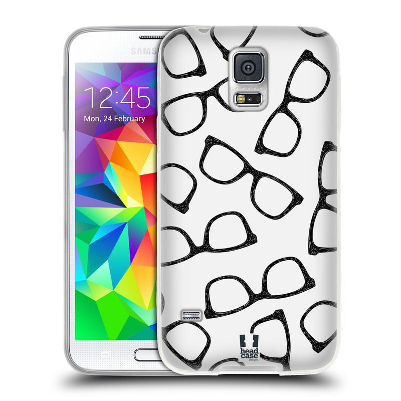 Silikonové pouzdro na mobil Samsung Galaxy S5 HEAD CASE HIPSTER BRÝLE (Silikonový kryt či obal na mobilní telefon Samsung Galaxy S5 SM-G900F)