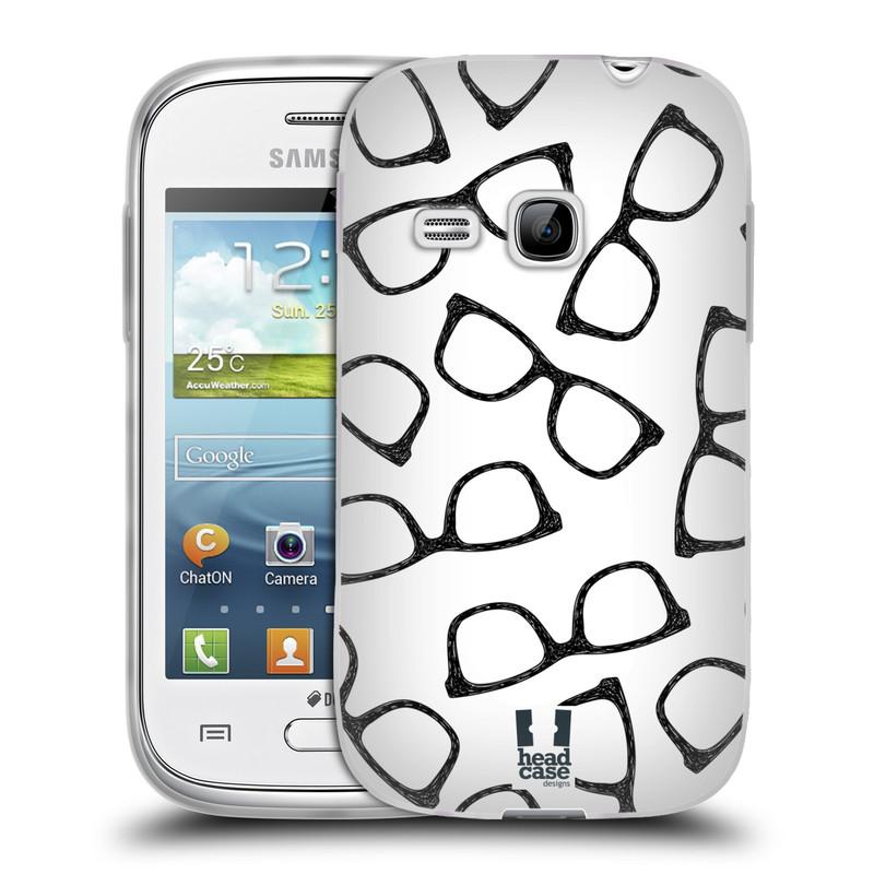 Silikonové pouzdro na mobil Samsung Galaxy Young HEAD CASE HIPSTER BRÝLE (Silikonový kryt či obal na mobilní telefon Samsung Galaxy Young GT-S6310)