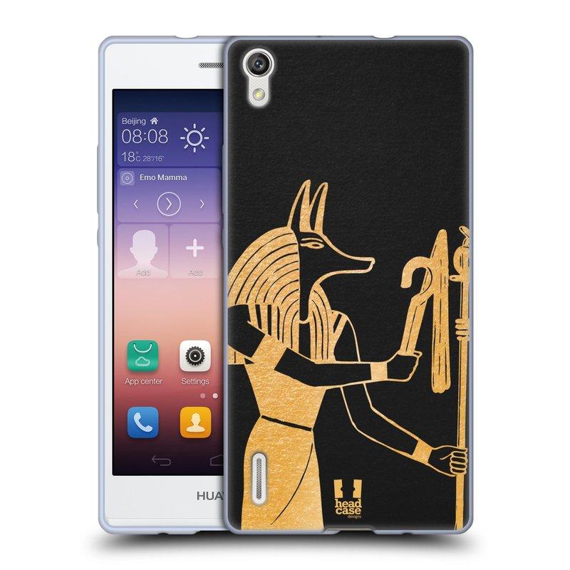 Silikonové pouzdro na mobil Huawei P7 HEAD CASE EGYPT ANUBIS (Silikonový kryt či obal na mobilní telefon Huawei Ascend P7)