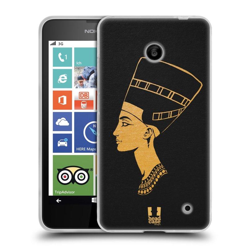 Silikonové pouzdro na mobil Nokia Lumia 630 HEAD CASE EGYPT NEFERTITI (Silikonový kryt či obal na mobilní telefon Nokia Lumia 630 a Nokia Lumia 630 Dual SIM)