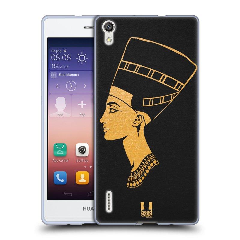 Silikonové pouzdro na mobil Huawei P7 HEAD CASE EGYPT NEFERTITI (Silikonový kryt či obal na mobilní telefon Huawei Ascend P7)