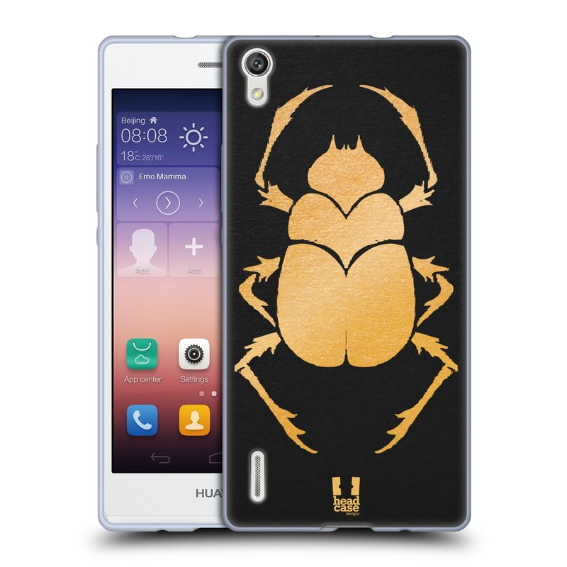 Silikonové pouzdro na mobil Huawei P7 HEAD CASE EGYPT SCARABEUS (Silikonový kryt či obal na mobilní telefon Huawei Ascend P7)
