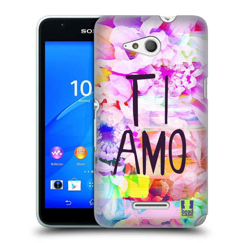 Plastové pouzdro na mobil Sony Xperia E4g E2003 HEAD CASE Květy Ti Amo (Plastový kryt či obal na mobilní telefon Sony Xperia E4g a E4g Dual SIM)