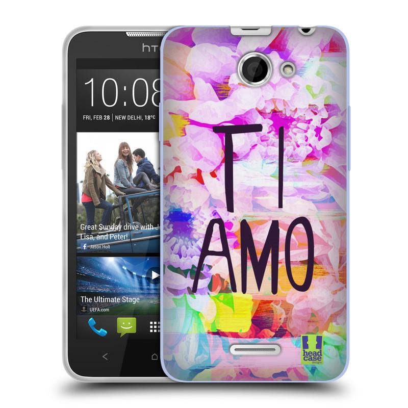 Silikonové pouzdro na mobil HTC Desire 516 HEAD CASE Květy Ti Amo (Silikonový kryt či obal na mobilní telefon HTC Desire 516 Dual SIM)