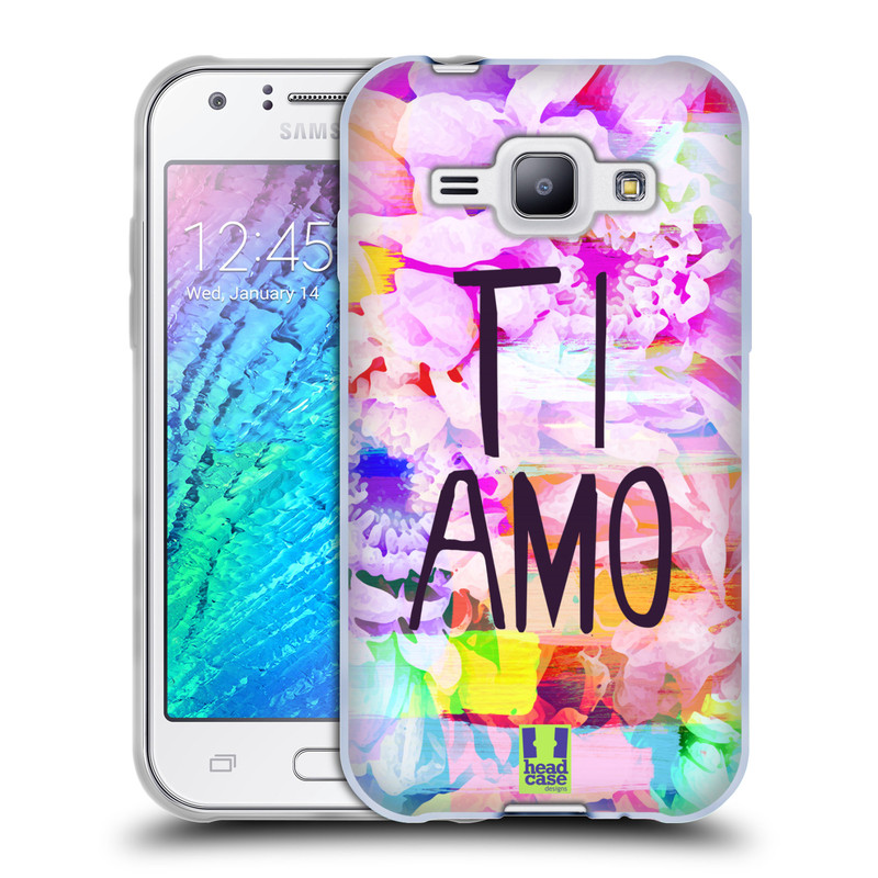 Silikonové pouzdro na mobil Samsung Galaxy J1 HEAD CASE Květy Ti Amo (Silikonový kryt či obal na mobilní telefon Samsung Galaxy J1 a J1 Duos)