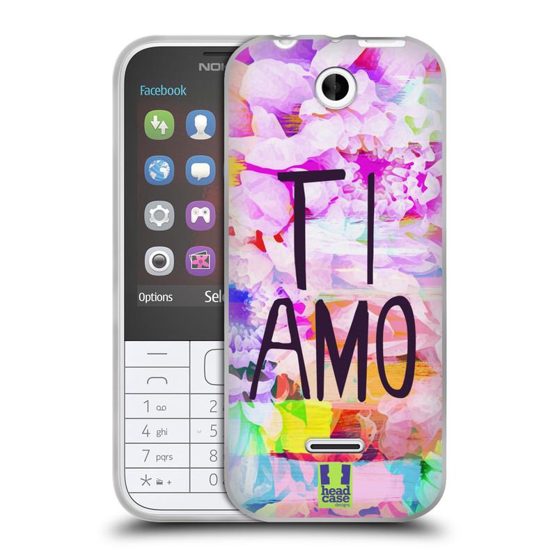 Silikonové pouzdro na mobil Nokia 225 HEAD CASE Květy Ti Amo (Silikonový kryt či obal na mobilní telefon Nokia 225)
