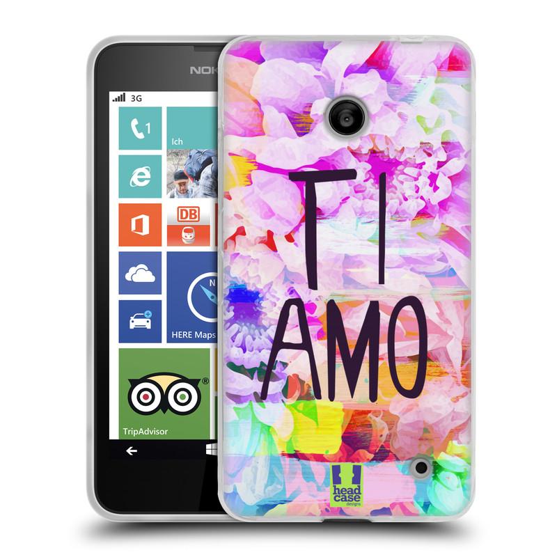 Silikonové pouzdro na mobil Nokia Lumia 635 HEAD CASE Květy Ti Amo (Silikonový kryt či obal na mobilní telefon Nokia Lumia 635 Dual SIM)