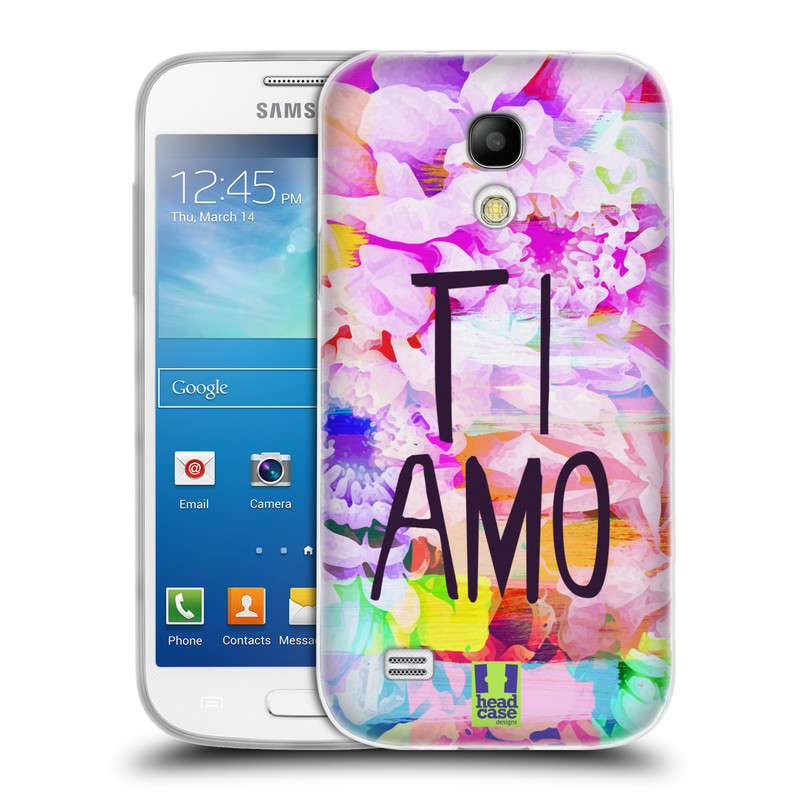 Silikonové pouzdro na mobil Samsung Galaxy S4 Mini HEAD CASE Květy Ti Amo (Silikonový kryt či obal na mobilní telefon Samsung Galaxy S4 Mini GT-i9195 / i9190)
