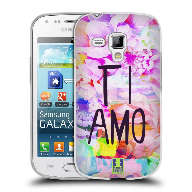 Silikonové pouzdro na mobil Samsung Galaxy S Duos HEAD CASE Květy Ti Amo (Silikonový kryt či obal na mobilní telefon Samsung Galaxy S Duos GT-S7562)
