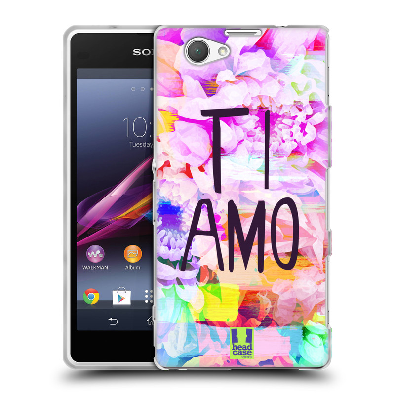 Silikonové pouzdro na mobil Sony Xperia Z1 Compact D5503 HEAD CASE Květy Ti Amo (Silikonový kryt či obal na mobilní telefon Sony Xperia Z1 Compact)