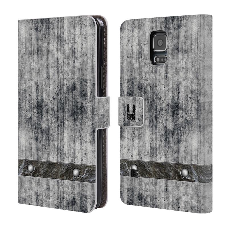 Flipové pouzdro na mobil Samsung Galaxy S5 HEAD CASE Industrial Concrete (Flipový vyklápěcí kryt či obal z umělé kůže na mobilní telefon Samsung Galaxy S5 SM-G900)