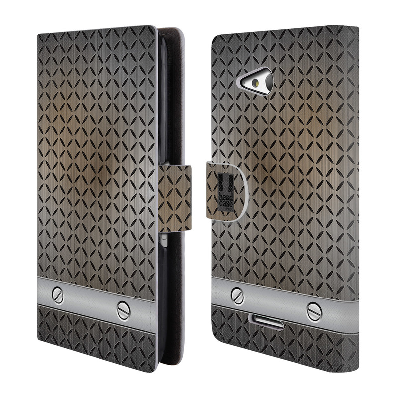 Flipové pouzdro na mobil Sony Xperia E4g HEAD CASE INDUSTRIAL STEEL (Flipový vyklápěcí kryt či obal z umělé kůže na mobilní telefon Sony Xperia E4G E2003)