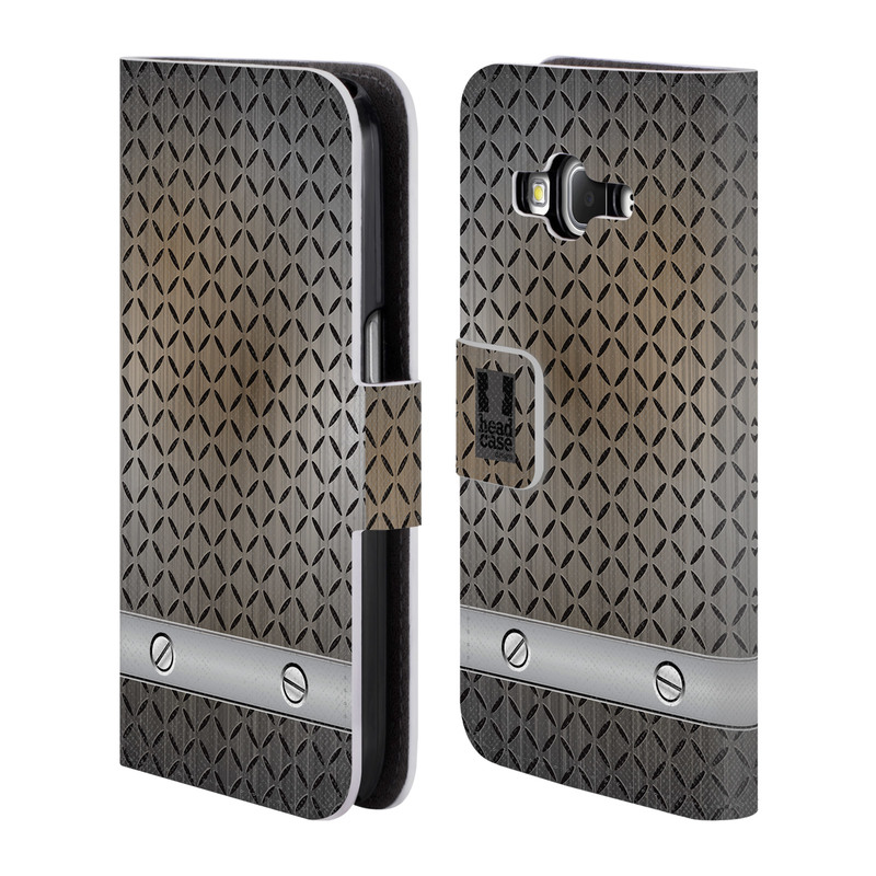 Flipové pouzdro na mobil Samsung Galaxy Core Prime LTE HEAD CASE INDUSTRIAL STEEL (Flipový vyklápěcí kryt či obal z umělé kůže na mobilní telefon Samsung Galaxy Core Prime LTE SM-G360)