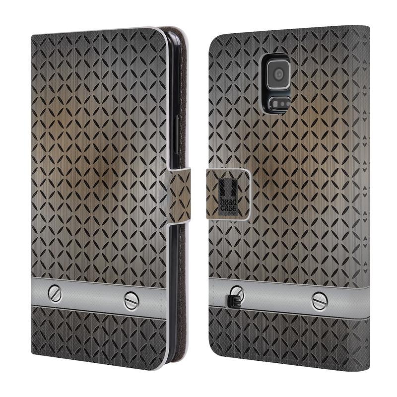 Flipové pouzdro na mobil Samsung Galaxy S5 HEAD CASE INDUSTRIAL STEEL (Flipový vyklápěcí kryt či obal z umělé kůže na mobilní telefon Samsung Galaxy S5 SM-G900)