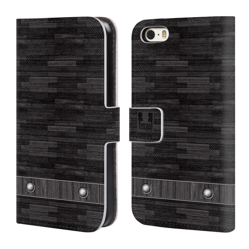 Flipové pouzdro na mobil Apple iPhone SE, 5 a 5S HEAD CASE Industrial Wood (Flipový vyklápěcí kryt či obal z umělé kůže na mobilní telefon Apple iPhone 5 a 5S)