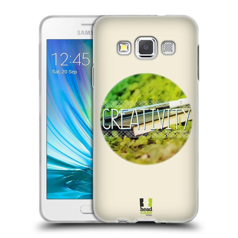 Silikonové pouzdro na mobil Samsung Galaxy A3 HEAD CASE INSPIRACE V KRUHU KREATIVITA (Silikonový kryt či obal na mobilní telefon Samsung Galaxy A3 SM-A300)