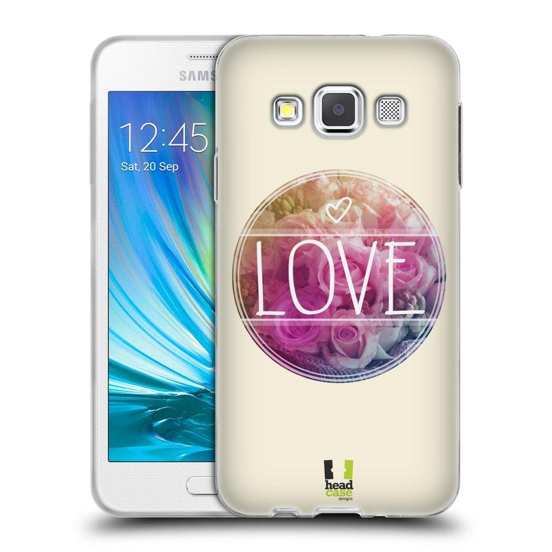 Silikonové pouzdro na mobil Samsung Galaxy A3 HEAD CASE INSPIRACE V KRUHU LÁSKA (Silikonový kryt či obal na mobilní telefon Samsung Galaxy A3 SM-A300)