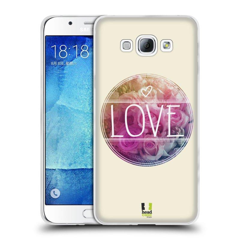 Silikonové pouzdro na mobil Samsung Galaxy A8 HEAD CASE INSPIRACE V KRUHU LÁSKA (Silikonový kryt či obal na mobilní telefon Samsung Galaxy A8 SM-A800)