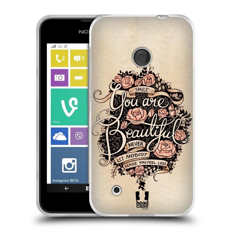 Silikonové pouzdro na mobil Nokia Lumia 530 HEAD CASE BEAUTIFUL (Silikonový kryt či obal na mobilní telefon Nokia Lumia 530)