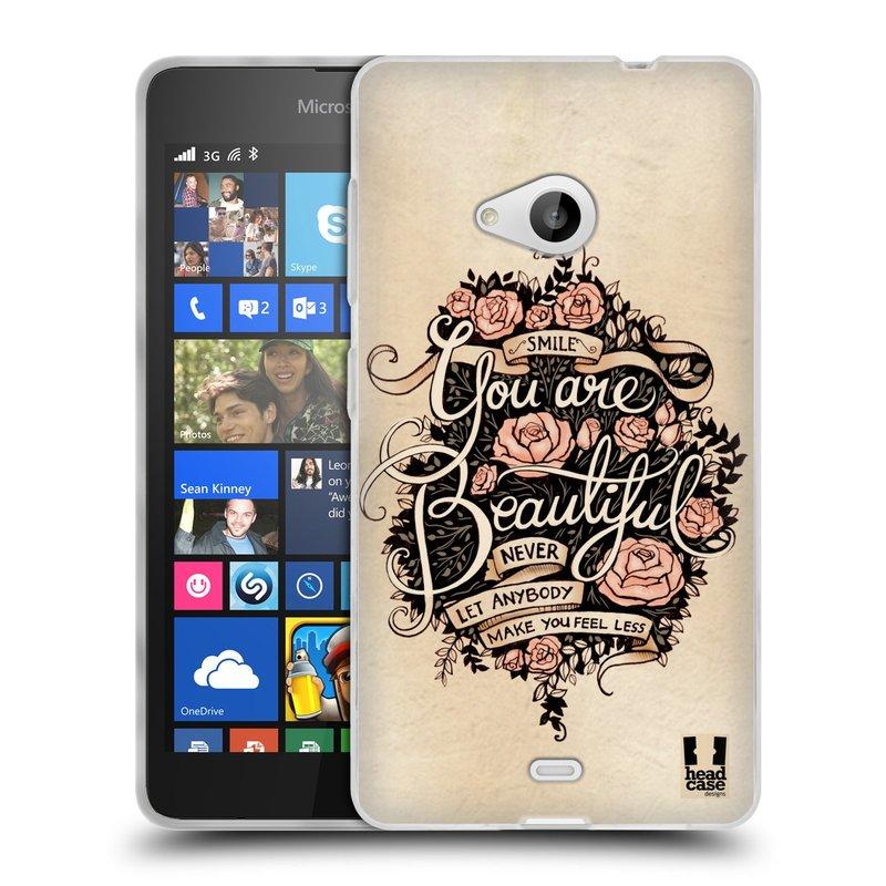 Silikonové pouzdro na mobil Microsoft Lumia 535 HEAD CASE BEAUTIFUL (Silikonový kryt či obal na mobilní telefon Microsoft Lumia 535)