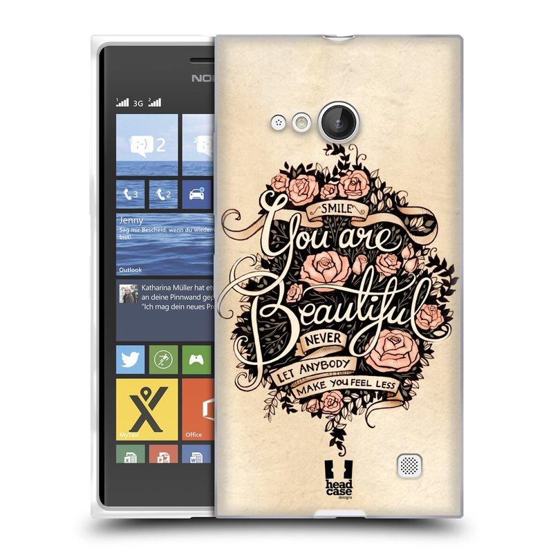 Silikonové pouzdro na mobil Nokia Lumia 735 HEAD CASE BEAUTIFUL (Silikonový kryt či obal na mobilní telefon Nokia Lumia 735)