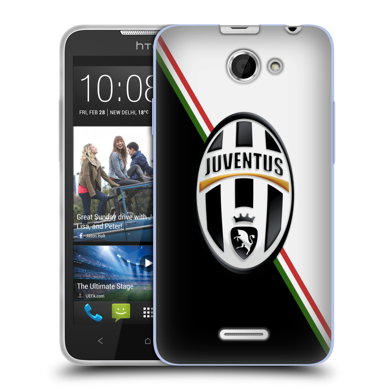 Silikonové pouzdro na mobil HTC Desire 516 HEAD CASE Juventus FC - Black and White (Silikonový kryt či obal na mobilní telefon Juventus FC Official pro HTC Desire 516 Dual SIM)