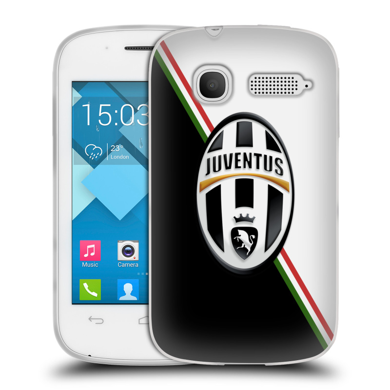 Silikonové pouzdro na mobil Alcatel One Touch Pop C1 HEAD CASE Juventus FC - Black and White (Silikonový kryt či obal na mobilní telefon Juventus FC Official pro Alcatel OT-4015D POP C1)
