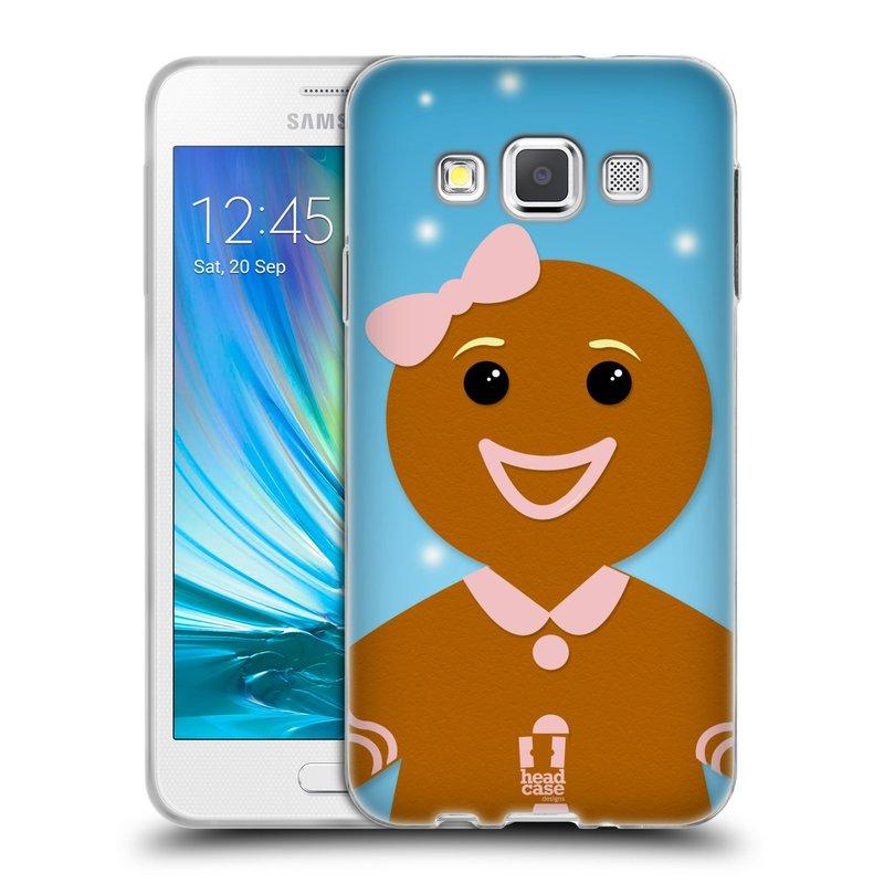 Silikonové pouzdro na mobil Samsung Galaxy A3 HEAD CASE VÁNOCE PERNÍČEK (Silikonový kryt či obal na mobilní telefon Samsung Galaxy A3 SM-A300)