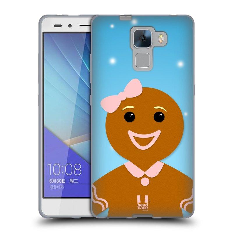 Silikonové pouzdro na mobil Honor 7 HEAD CASE VÁNOCE PERNÍČEK (Silikonový kryt či obal na mobilní telefon Huawei Honor 7)