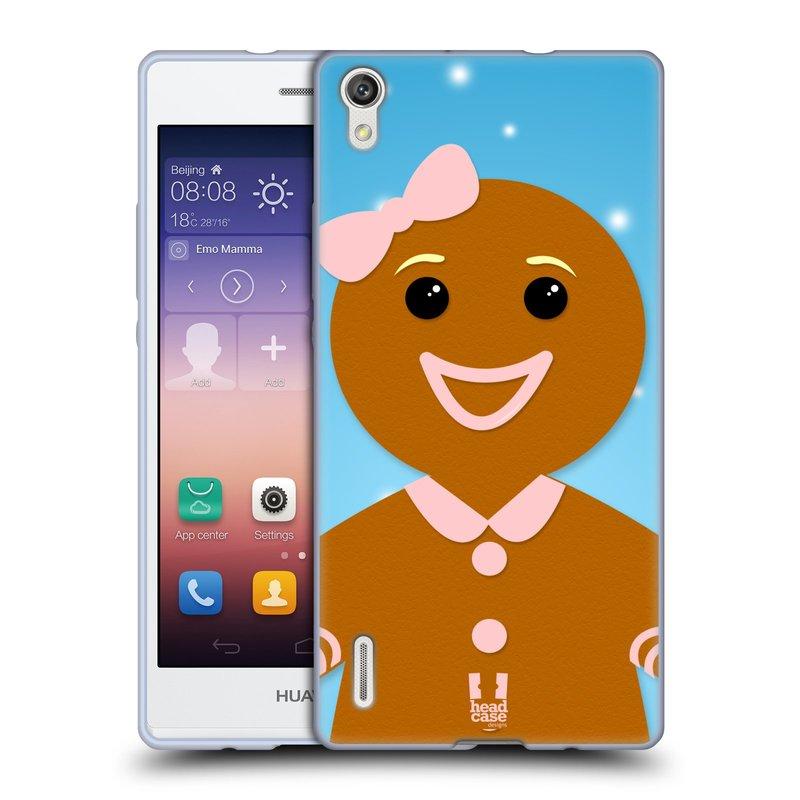 Silikonové pouzdro na mobil Huawei P7 HEAD CASE VÁNOCE PERNÍČEK (Silikonový kryt či obal na mobilní telefon Huawei Ascend P7)