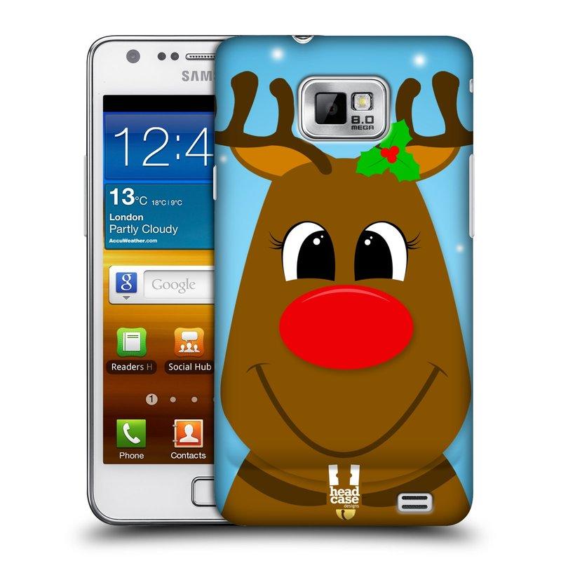 Plastové pouzdro na mobil Samsung Galaxy S II HEAD CASE VÁNOCE RUDOLF SOB (Kryt či obal na mobilní telefon Samsung Galaxy S II GT-i9100)