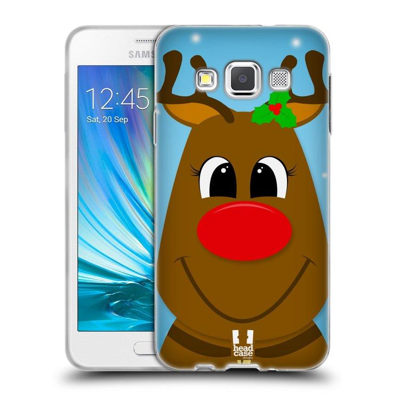 Silikonové pouzdro na mobil Samsung Galaxy A3 HEAD CASE VÁNOCE RUDOLF SOB (Silikonový kryt či obal na mobilní telefon Samsung Galaxy A3 SM-A300)