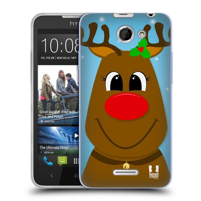 Silikonové pouzdro na mobil HTC Desire 516 HEAD CASE VÁNOCE RUDOLF SOB (Silikonový kryt či obal na mobilní telefon HTC Desire 516 Dual SIM)