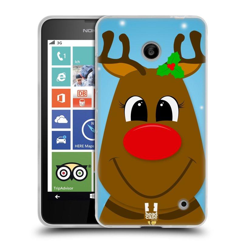 Silikonové pouzdro na mobil Nokia Lumia 630 HEAD CASE VÁNOCE RUDOLF SOB (Silikonový kryt či obal na mobilní telefon Nokia Lumia 630 a Nokia Lumia 630 Dual SIM)