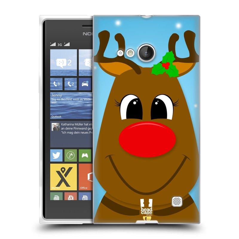 Silikonové pouzdro na mobil Nokia Lumia 730 Dual SIM HEAD CASE VÁNOCE RUDOLF SOB (Silikonový kryt či obal na mobilní telefon Nokia Lumia 730 Dual SIM)