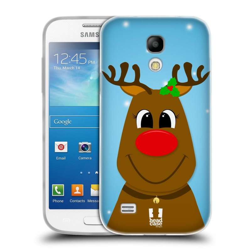 Silikonové pouzdro na mobil Samsung Galaxy S4 Mini HEAD CASE VÁNOCE RUDOLF SOB (Silikonový kryt či obal na mobilní telefon Samsung Galaxy S4 Mini GT-i9195 / i9190 (nepasuje na verzi Black Edition))