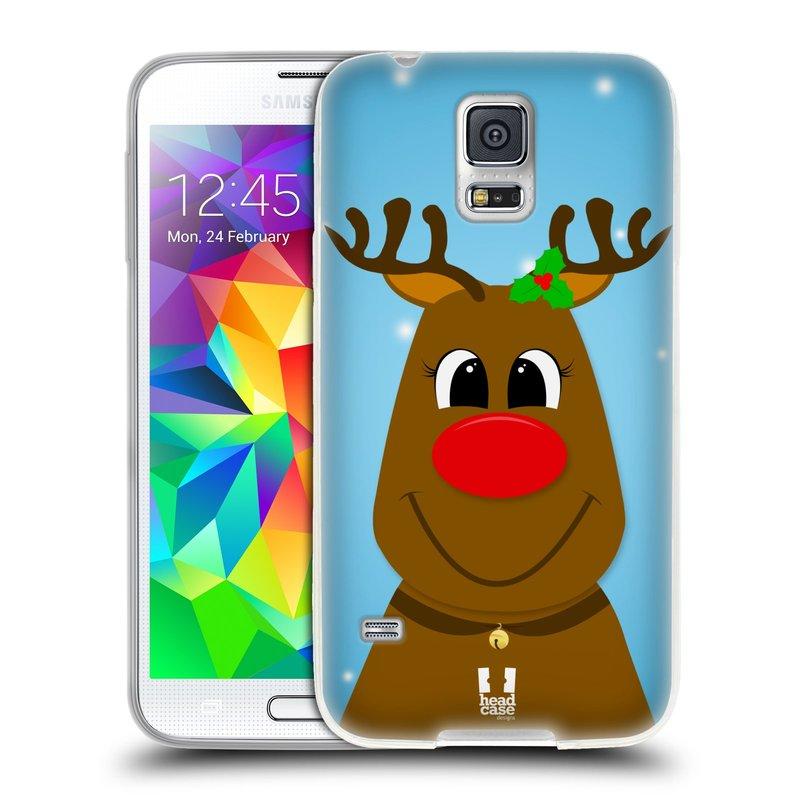 Silikonové pouzdro na mobil Samsung Galaxy S5 HEAD CASE VÁNOCE RUDOLF SOB (Silikonový kryt či obal na mobilní telefon Samsung Galaxy S5 SM-G900F)