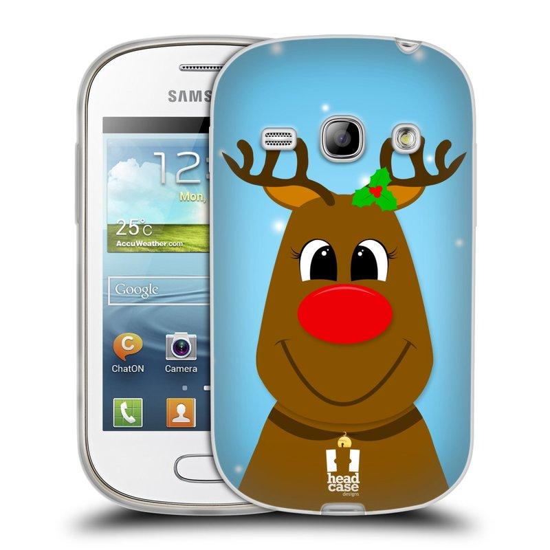 Silikonové pouzdro na mobil Samsung Galaxy Fame HEAD CASE VÁNOCE RUDOLF SOB (Silikonový kryt či obal na mobilní telefon Samsung Galaxy Fame GT-S6810)