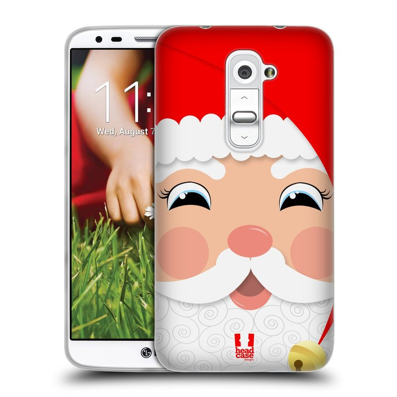 Silikonové pouzdro na mobil LG G2 HEAD CASE VÁNOCE SANTA (Silikonový kryt či obal na mobilní telefon LG G2 D802)