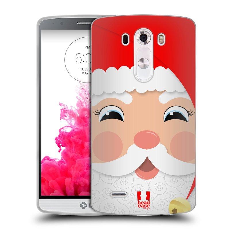 Silikonové pouzdro na mobil LG G3 HEAD CASE VÁNOCE SANTA (Silikonový kryt či obal na mobilní telefon LG G3 D855)