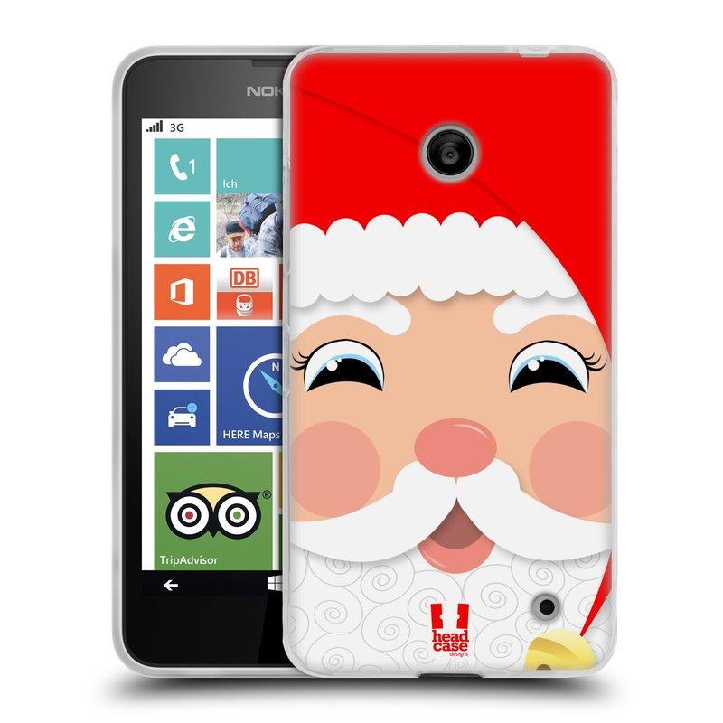 Silikonové pouzdro na mobil Nokia Lumia 630 HEAD CASE VÁNOCE SANTA (Silikonový kryt či obal na mobilní telefon Nokia Lumia 630 a Nokia Lumia 630 Dual SIM)