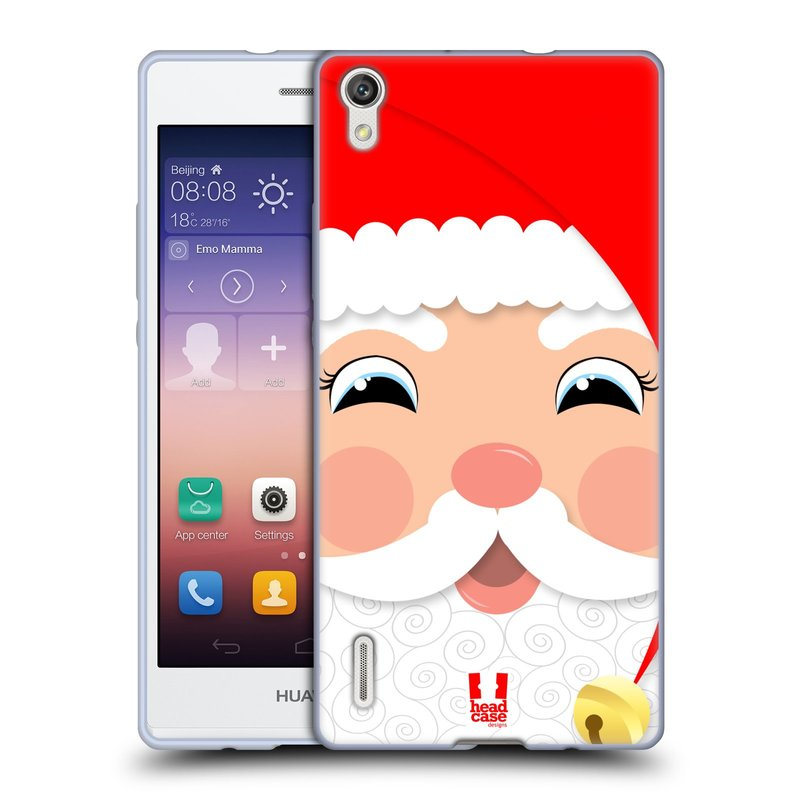 Silikonové pouzdro na mobil Huawei P7 HEAD CASE VÁNOCE SANTA (Silikonový kryt či obal na mobilní telefon Huawei Ascend P7)