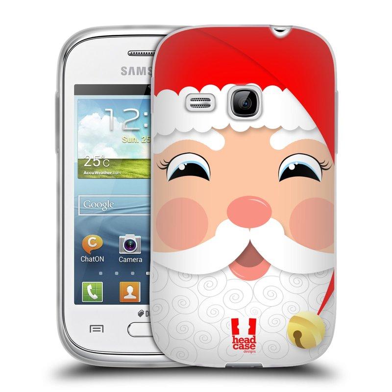 Silikonové pouzdro na mobil Samsung Galaxy Young HEAD CASE VÁNOCE SANTA (Silikonový kryt či obal na mobilní telefon Samsung Galaxy Young GT-S6310)