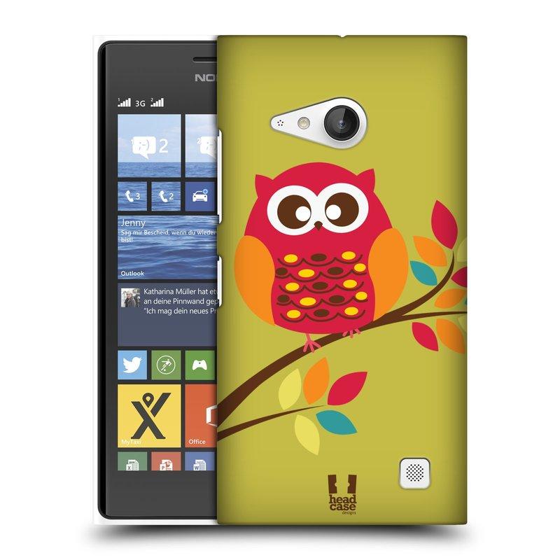 Plastové pouzdro na mobil Nokia Lumia 730 Dual SIM HEAD CASE SOVIČKA NA VĚTVI (Kryt či obal na mobilní telefon Nokia Lumia 730 Dual SIM)