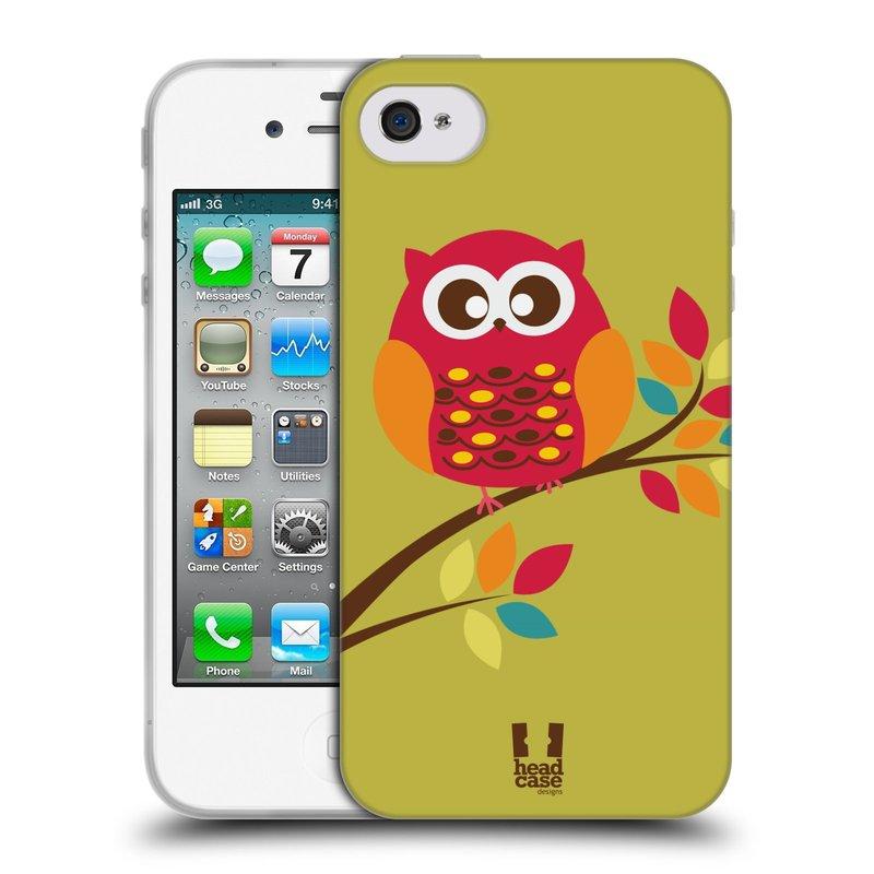 Silikonové pouzdro na mobil Apple iPhone 4 a 4S HEAD CASE SOVIČKA NA VĚTVI (Silikonový kryt či obal na mobilní telefon Apple iPhone 4 a 4S)