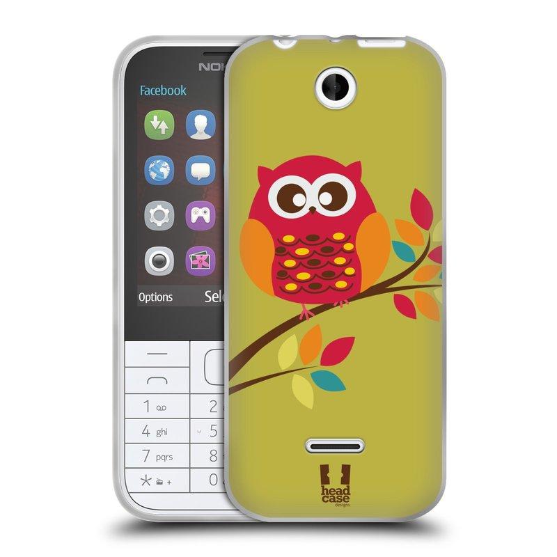 Silikonové pouzdro na mobil Nokia 225 HEAD CASE SOVIČKA NA VĚTVI (Silikonový kryt či obal na mobilní telefon Nokia 225)