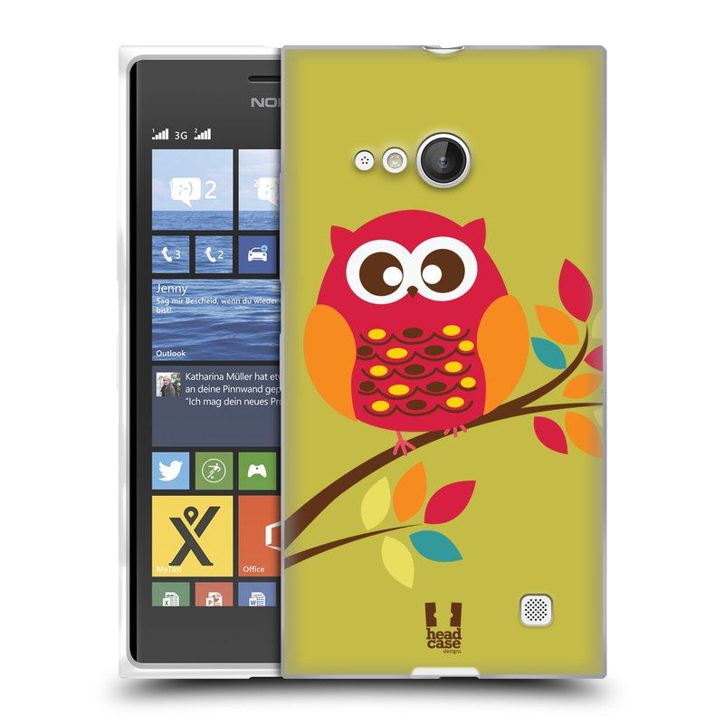 Silikonové pouzdro na mobil Nokia Lumia 730 Dual SIM HEAD CASE SOVIČKA NA VĚTVI (Silikonový kryt či obal na mobilní telefon Nokia Lumia 730 Dual SIM)