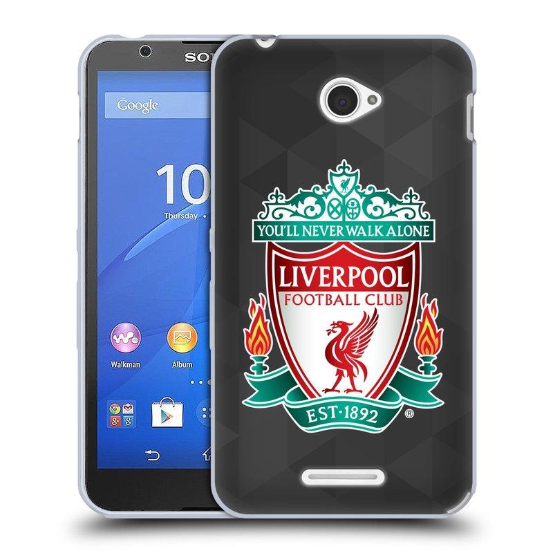 Silikonové pouzdro na mobil Sony Xperia E4 E2105 HEAD CASE ZNAK LIVERPOOL FC OFFICIAL GEOMETRIC BLACK (Silikonový kryt či obal na mobilní telefon Liverpool FC Official pro Sony Xperia E4 a E4 Dual SIM)